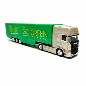 Welly 1:87 Die-cast Scania V8 R730 Container Truck Gold & Green Model with Box Collection