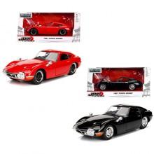 Jada 1:24 JDM Tuners Die-Cast 1967 Toyota 2000GT Car Red + Black Set Model Collection