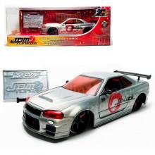 Jada 1:24 20th Anniversary Die-Cast 2002 Nissan Skyline GT-R (BNR34) JDM Tuners Car Silver Model Collection