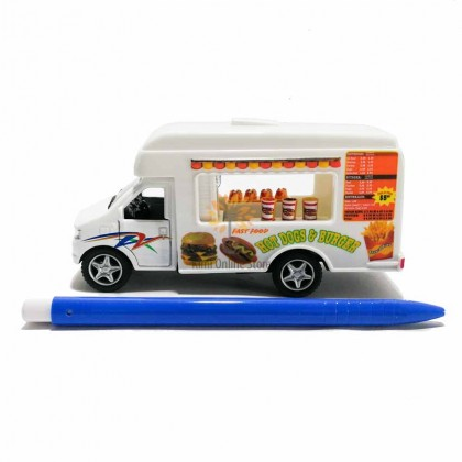 Kinsfun 5 inch Die-cast Fast Food Truck Model with Box Collection Pull Back White