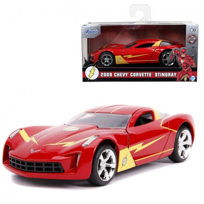Jada 1:32 Diecast Hollywood Rides DC Comics The Flash 2009 Chevy Corvette Stingray Concept Car Red Model Collection