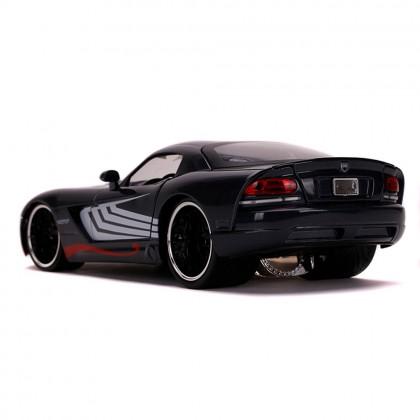 Jada 1:24 Diecast Hollywood Rides Marvel Venom 2008 Dodge Viper & 2.75 inch Venom Figure Car Black Model Collection