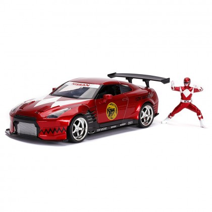Jada 1:24 Diecast Hollywood Rides Mighty Morphin Power Rangers 2009 Nissan GT-R R35 Ben Sopra & 2.75 inch Red Ranger Figure Car Red Model Collection