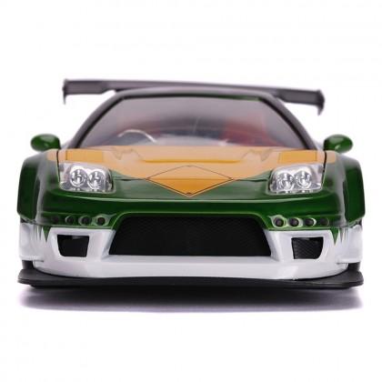Jada 1:24 Diecast Hollywood Rides Mighty Morphin Power Rangers 2002 Honda NSX Type-R Japan Spec & 2.75 inch Green Ranger Figure Car Green Model Collection