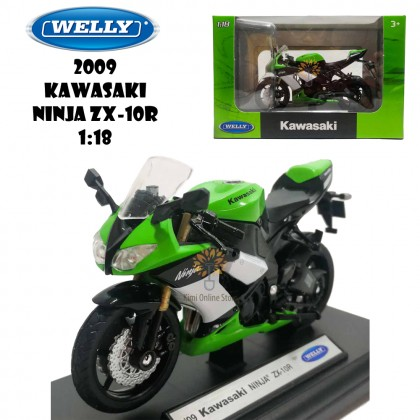 Welly 1:18 Die-cast 2009 Kawasaki Ninja ZX-10R Motorcycle Model with Box Collection Christmas New Gift Green