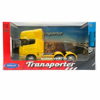 Welly 1:32 Die-cast Scania V8 R730 6 x 4 Wheel Tractor Truck Model Yellow with Box Collection Christmas New Gift