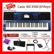 61 Key Casio MZ-X500 Electronic Keyboard Arranger Piano Organ 1100 Preset Tones HEX Layer 330 Rhythms Color Touch LCD XY-Graph Parametric EQ Drabar Organ Real Time