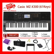 61 Key Casio MZ-X300 Electronic Keyboard Arranger Piano Organ 900 Preset Tones 280 Rhythms 4Phrase Pads Color Touch LCD XY-Graph Parametric EQ Drabar Organ Real Time